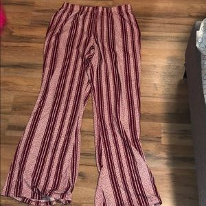 Maroon and white flared bottoms